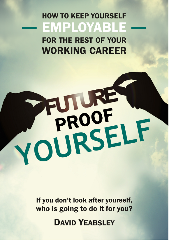 cover of book called Future Proof Yourself showing two hands in silhouette holding the title against a sky background