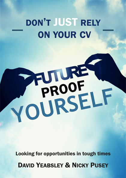 cover of a book called Future Proof Yourself with two hands in silhouette holding the book title against a blue sky background
